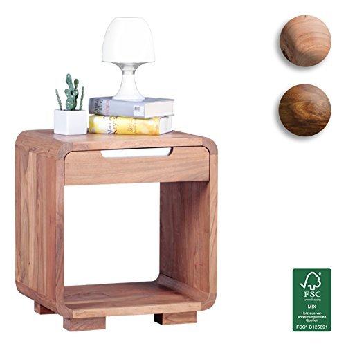 finebuy design nachttisch massivholz akazie nacht kommode 50 cm mit schublade boxspringbett deko. Black Bedroom Furniture Sets. Home Design Ideas