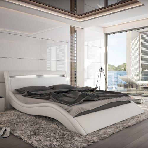 m bel24 m bel g nstig innocent polsterbett kunstleder mit led beleuchtung modani wei 180x200. Black Bedroom Furniture Sets. Home Design Ideas