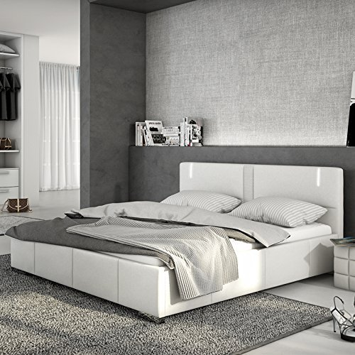 innocent polsterbett led 180x200cm kunstleder wei mit. Black Bedroom Furniture Sets. Home Design Ideas