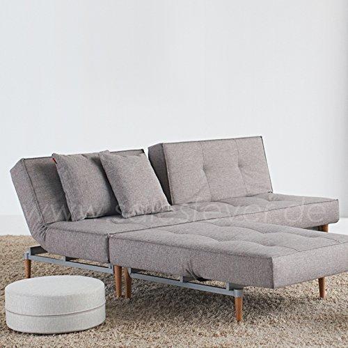 innovation schlafsofa mit hellen holzbeinen splitback styletto light wood textil grau m bel24. Black Bedroom Furniture Sets. Home Design Ideas