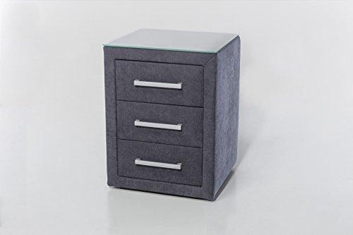 nachtkonsole m belfreude sven anthrazit mit 3 schubladen nacht tisch nacht schrank nacht. Black Bedroom Furniture Sets. Home Design Ideas
