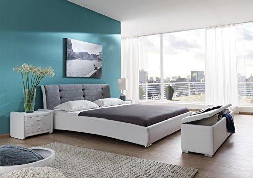 sam design polsterbett 140x200 cm bastia wei grau. Black Bedroom Furniture Sets. Home Design Ideas
