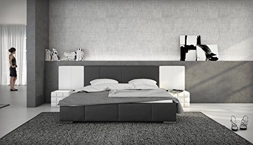 sam design polsterbett natal in schwarz wei 180 x 200 cm ohne soundsystem abgestepptes. Black Bedroom Furniture Sets. Home Design Ideas