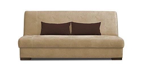schlafsofa abele in beige mit bettfunktion und staukasten. Black Bedroom Furniture Sets. Home Design Ideas
