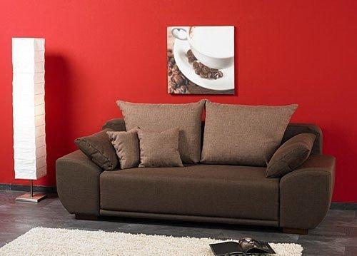 schlafsofa mit laminat bettkasten in strukturstoff braun. Black Bedroom Furniture Sets. Home Design Ideas