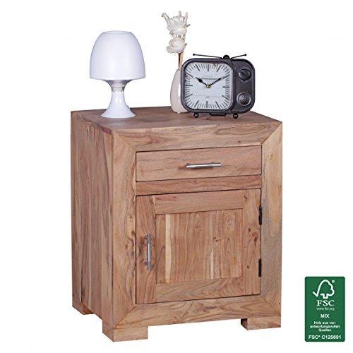 wohnling nachttisch massivholz akazie design nachtkommode 60 cm hoch 50 cm breit schublade tr. Black Bedroom Furniture Sets. Home Design Ideas