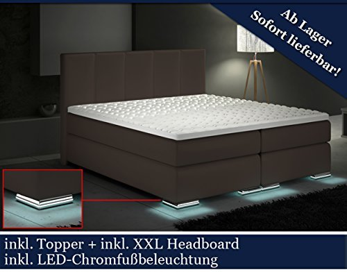 xxl boxspringbett designer boxspring bett led braun braun 200x200 m bel24. Black Bedroom Furniture Sets. Home Design Ideas