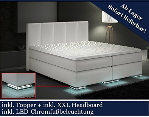 xxl boxspringbett designer boxspring bett led wei 200x200 m bel24. Black Bedroom Furniture Sets. Home Design Ideas
