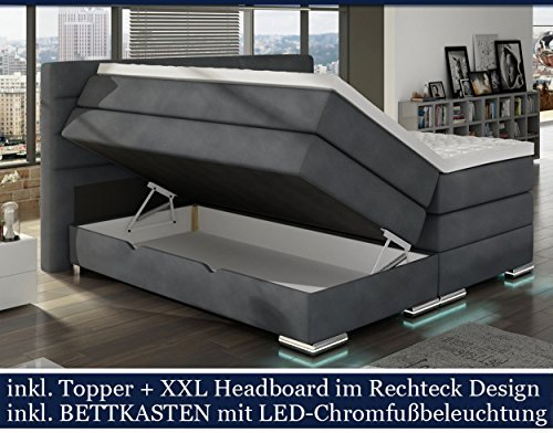 xxl roma boxspringbett mit bettkasten designer boxspring. Black Bedroom Furniture Sets. Home Design Ideas