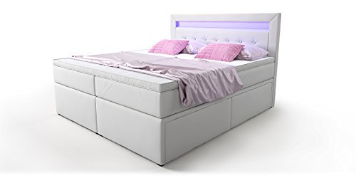box bett doppelbett hotelbett delia mit bettkasten schubkasten led kunstleder wei 160 180x200. Black Bedroom Furniture Sets. Home Design Ideas