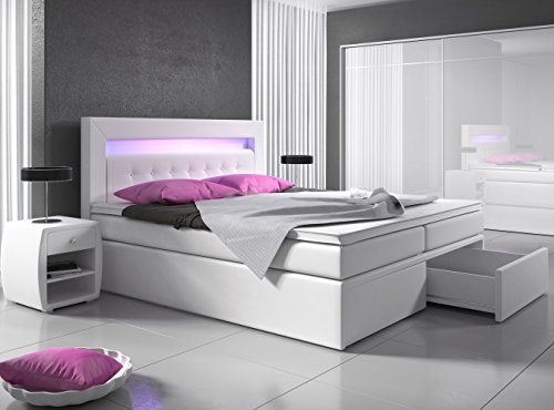 boxspringbett 140x200 wei mit bettkasten led kopflicht. Black Bedroom Furniture Sets. Home Design Ideas