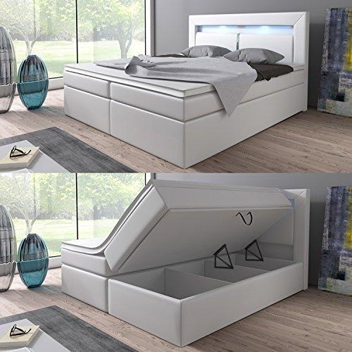 boxspringbett 160 200 180 200 wei mit bettkasten led kopflicht hotelbett br ssel lift 180 200. Black Bedroom Furniture Sets. Home Design Ideas