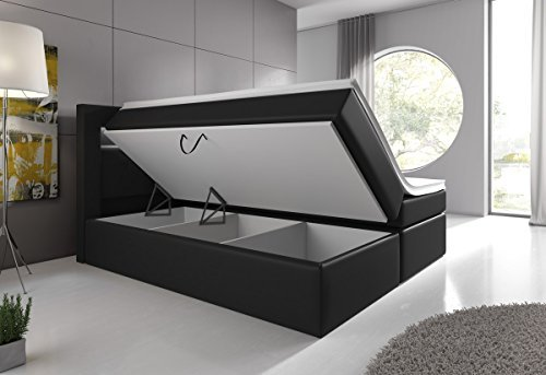 boxspringbett 160 200 schwarz mit bettkasten led kopflicht. Black Bedroom Furniture Sets. Home Design Ideas
