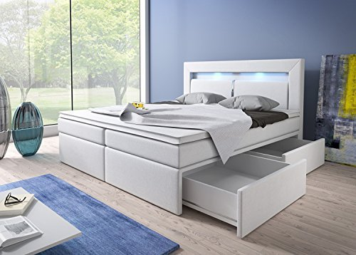 m bel24 m bel g nstig boxspringbett 180x200 wei mit. Black Bedroom Furniture Sets. Home Design Ideas