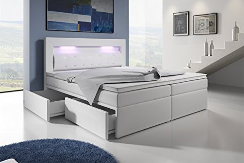 m bel24 boxspringbett mit bettkasten 160x200 grau led kopflicht glasstein hotelbett neapel 0. Black Bedroom Furniture Sets. Home Design Ideas