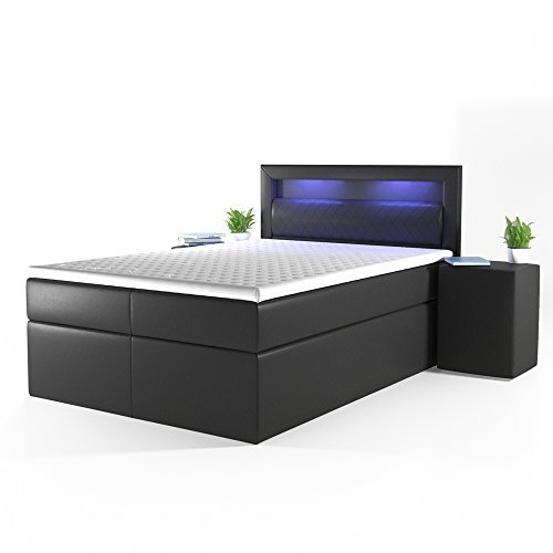 design boxspringbett led doppelbett bett hotelbett ehebett 140x200 cm schwarz m bel24. Black Bedroom Furniture Sets. Home Design Ideas
