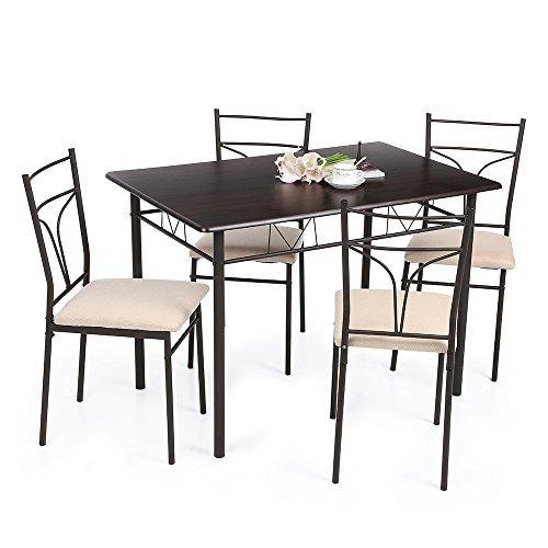 ikayaa 5 teilig essgruppe tischgruppe aus 1 esstisch 4. Black Bedroom Furniture Sets. Home Design Ideas