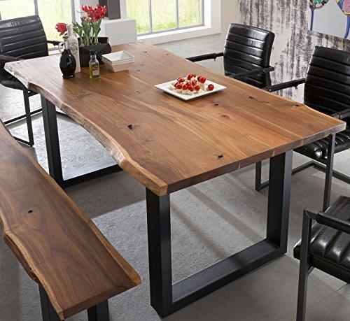 sam stilvoller esszimmertisch aus akazie holz baumkantentisch mit lackierten beinen aus. Black Bedroom Furniture Sets. Home Design Ideas