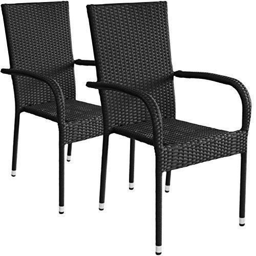 wohaga 2x stapelbarer polyrattan gartensessel rattansessel stapelstuhl gartenstuhl stapelbar. Black Bedroom Furniture Sets. Home Design Ideas