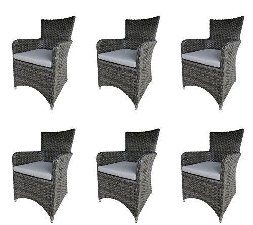 6 x alu diningsessel getafe halbrundes polyrattan geflecht in dunkelgrau und sitzkissen in. Black Bedroom Furniture Sets. Home Design Ideas