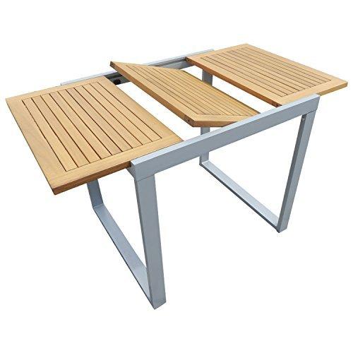 balkon ausziehtisch naxos 80 120x70cm alu akazie ge lt. Black Bedroom Furniture Sets. Home Design Ideas