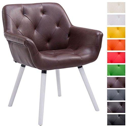 clp besucher stuhl cassidy holz wei kunstleder mit armlehne gepolstert belastbar bis 150. Black Bedroom Furniture Sets. Home Design Ideas