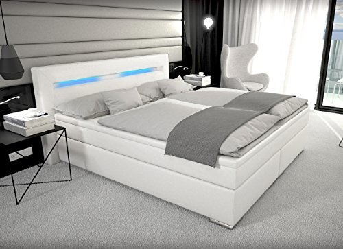 designer boxspring bett paris mit bettkasten led beleuchtung 180 200 cm farbe weiss mit matratze. Black Bedroom Furniture Sets. Home Design Ideas