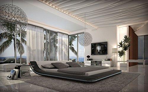 Designerbett-Custo-Schwarzwei-160x200-cm-Doppelbett-Futonbett-Bett-Polsterbett-Kunstleder-0
