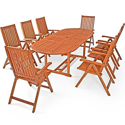 deuba sitzgruppe moreno mit 8 verstellbaren sthlen und ausklappbarem tisch aus eukalyptusholz. Black Bedroom Furniture Sets. Home Design Ideas
