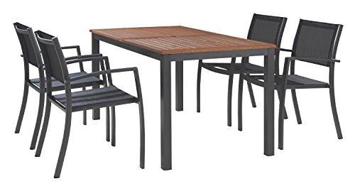 Essgruppe-Gartengruppe-Sitzgruppe-RAGUSA-Tisch-inkl-4-Sthle-Aluminium-Eukalyptus-0