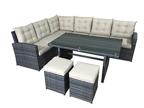 garten lounge set la palma in grau sitzecke aus polyrattan. Black Bedroom Furniture Sets. Home Design Ideas
