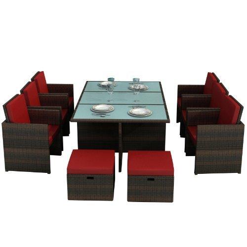 Gartenmbel-Bali-braunrot-Aluminium-Essgruppe-Garten-Mbel-Tisch-mit-6-Sthlen-und-4-Hocker-incl-Glas-und-Sitzkissen-Rattan-Polyrattan-Garten-Gartenausstattung-von-Jet-Line-0