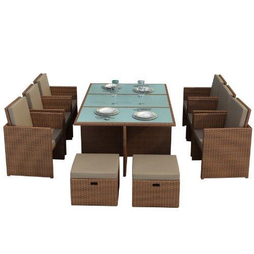 gartenmoebel bali hellbraun essgruppe garten moebel tisch 6 st hlen 4 hocker incl glas. Black Bedroom Furniture Sets. Home Design Ideas