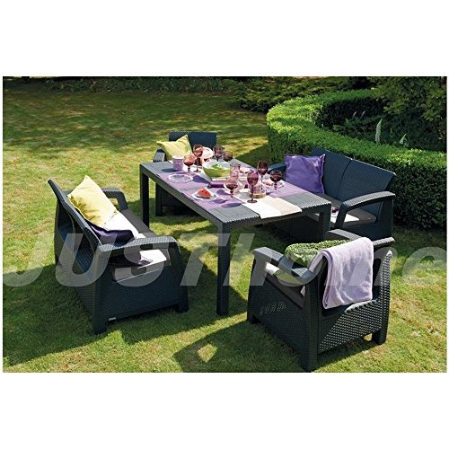 justyou fiesta essgruppe gartenm bel gartengarnitur set 2x sessel 2x sofa tisch in rattan. Black Bedroom Furniture Sets. Home Design Ideas