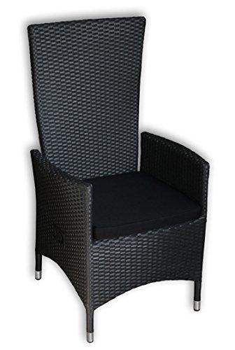 kmh polyrattan hochlehner tjorben schwarz incl kissen stufenlos verstellbare r ckenlehne 4. Black Bedroom Furniture Sets. Home Design Ideas