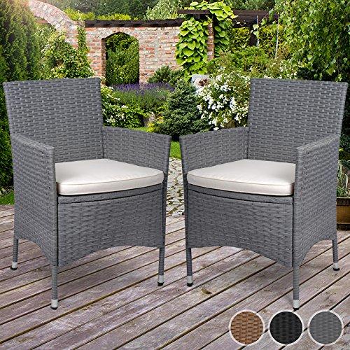 miadomodo polyrattan gartenm bel rattanm bel st hle in 2er set in der farbe nach ihrer wahl. Black Bedroom Furniture Sets. Home Design Ideas