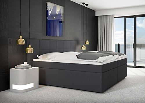 m bel24 miosono design boxspringbett salerno mit nero stoff bezug in anthrazit mit. Black Bedroom Furniture Sets. Home Design Ideas