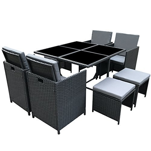 poly rattan essgruppe rattan set mit glastisch garnitur. Black Bedroom Furniture Sets. Home Design Ideas