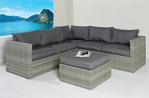 poly rattan sitzgruppe sofa lounge set grau gartenm bel terrassen garten gruppe m bel24. Black Bedroom Furniture Sets. Home Design Ideas