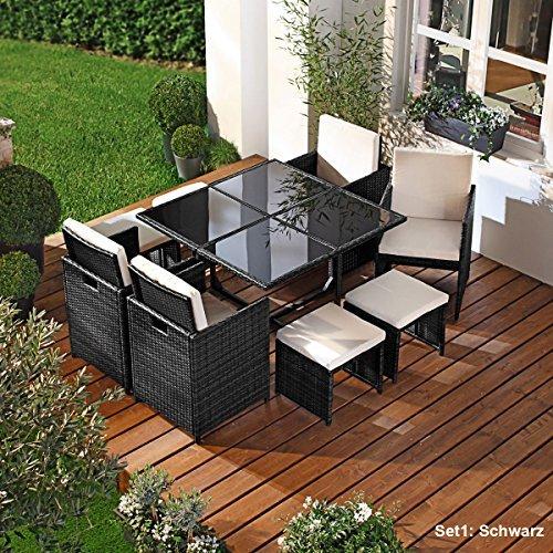 parent polyrattan gartenm belset camouflage 9tlg schwarz poly rattan sitzgarnitur gartenm bel. Black Bedroom Furniture Sets. Home Design Ideas