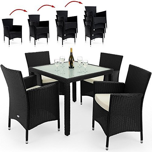 deuba poly rattan sitzgruppe 4 1 schwarz 4 stapelbare. Black Bedroom Furniture Sets. Home Design Ideas