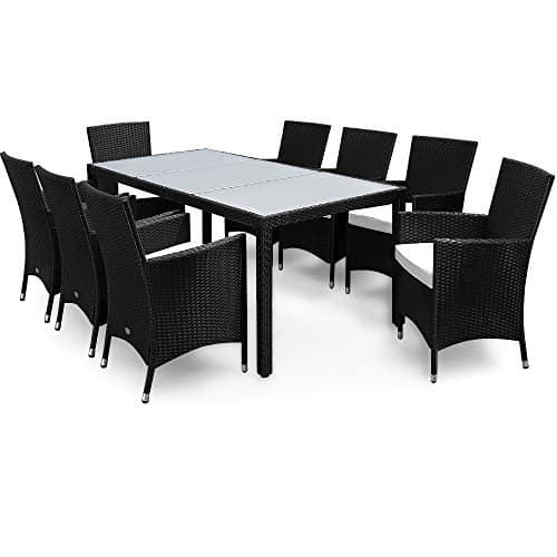 polyrattan sitzgruppe 8 1 schwarz gartenm bel lounge. Black Bedroom Furniture Sets. Home Design Ideas