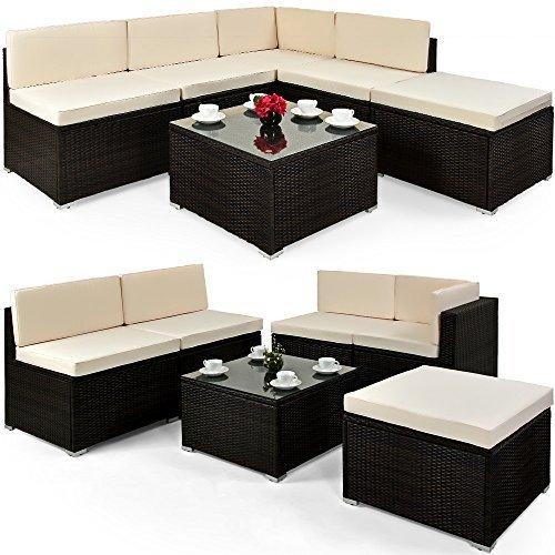 deuba poly rattan lounge set xxl braun 7cm dicke. Black Bedroom Furniture Sets. Home Design Ideas