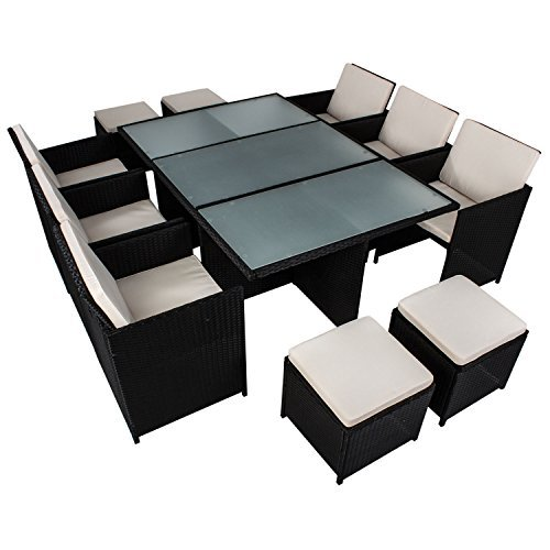 polyrattan essgruppe bari xl f r 6 personen 11 teilig mit. Black Bedroom Furniture Sets. Home Design Ideas
