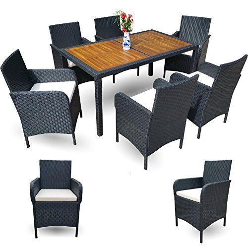 polyrattan esstisch set gartenm bel set sitzgruppe garten rattan 6 1 xxl garnitur schwarz 14 tlg. Black Bedroom Furniture Sets. Home Design Ideas