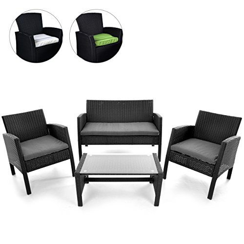 rattan set 4tlg mit glastisch garnitur gartenm bel. Black Bedroom Furniture Sets. Home Design Ideas