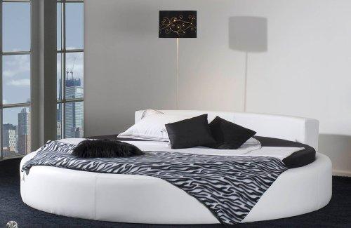 rundes bett california in 220 cm komfortables designerbett schwarzes spaltleder echt leder. Black Bedroom Furniture Sets. Home Design Ideas