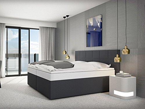sam design boxspringbett mit neo stoff bezug in anthrazit mit bonellfederkern 7 zonen h3. Black Bedroom Furniture Sets. Home Design Ideas