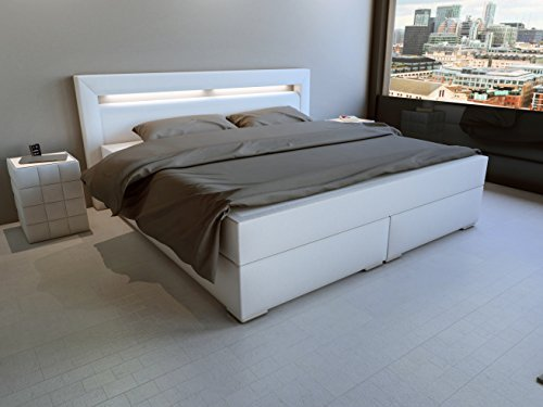 sam design boxspringbett mit samolux bezug in wei led. Black Bedroom Furniture Sets. Home Design Ideas