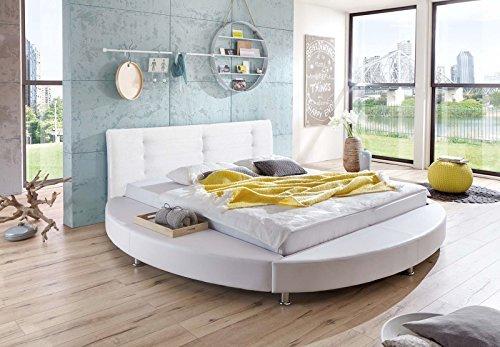 sam design rundbett 180x200 cm bastia wei kopfteil abgesteppt mit chromf en als wasserbett. Black Bedroom Furniture Sets. Home Design Ideas